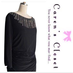 Adrianna Papell  Black Stretch Jersey  Dress
